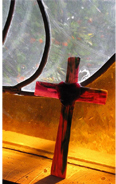fused cross in stained glass window